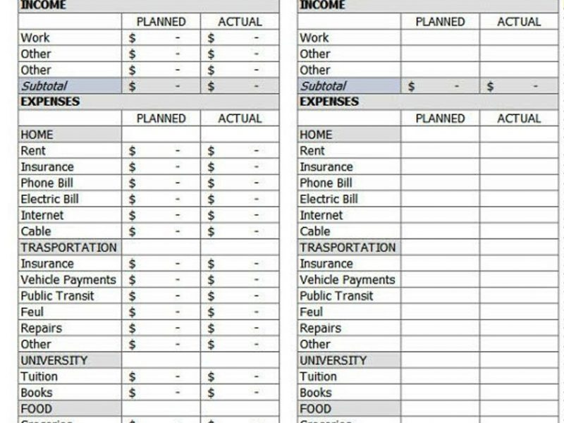 personal budget plans templates