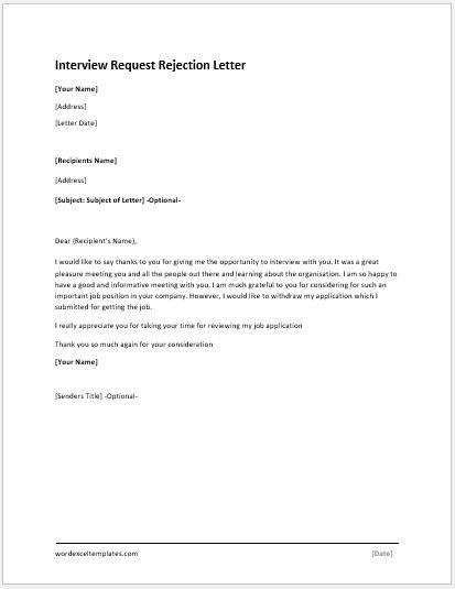 Antrag auf Ablehnungsschreiben