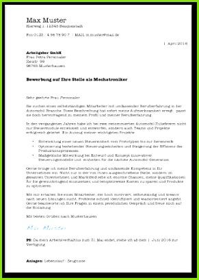 Bewerbungsanschreiben Vorlage Mechatroniker Muster Cover