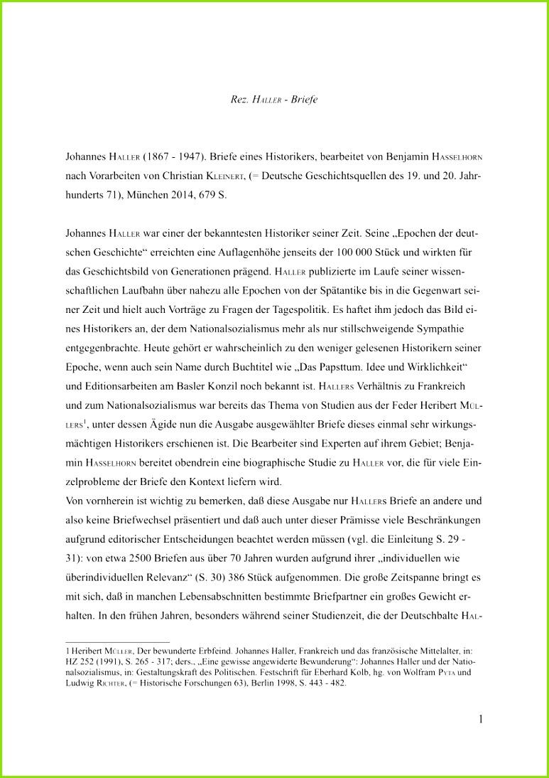 PDF Rezension zu Johannes HALLER Briefe eines Historikers bearbeitet Benjamin HASSELHORN Christian KLEINERT München De Gruyter Oldenbourg 2014