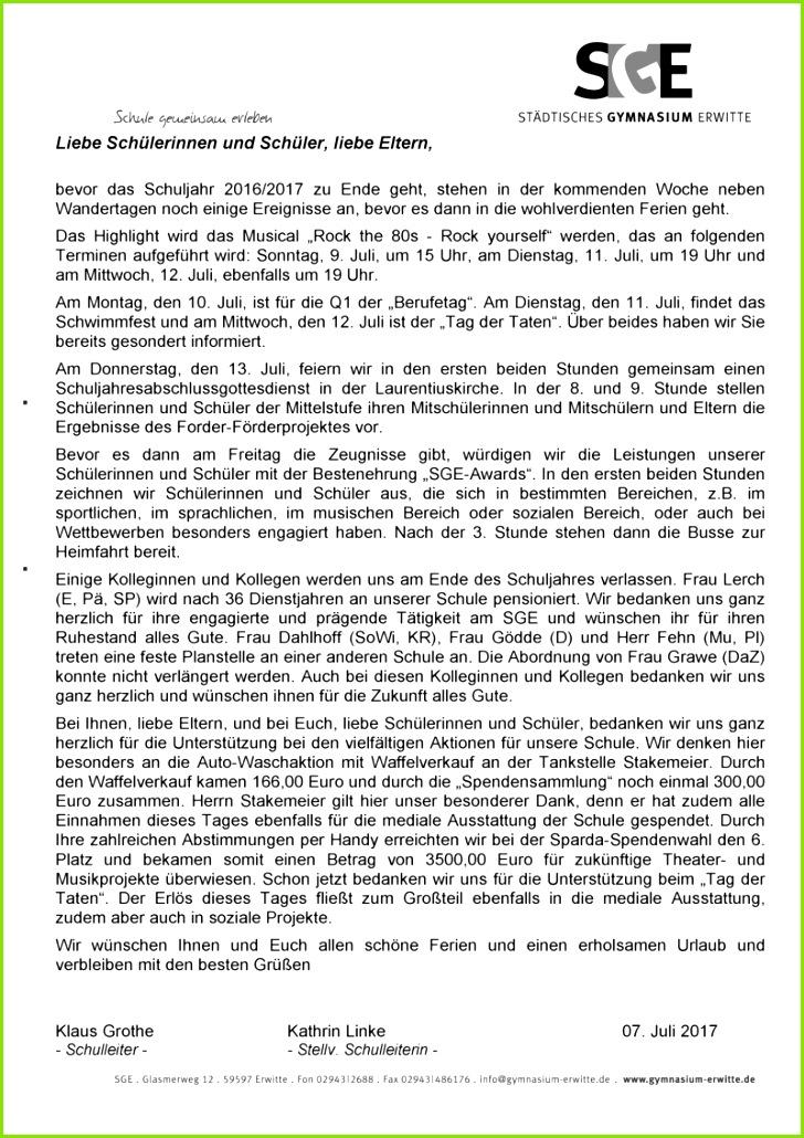 Brief der Schulleitung vom 07 07 2017