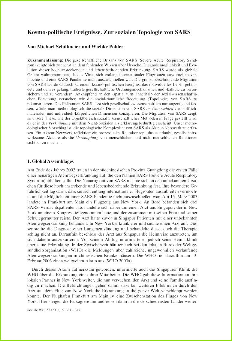 PDF Kosmo politische Ereignisse Zur sozialen Topologie von SARS