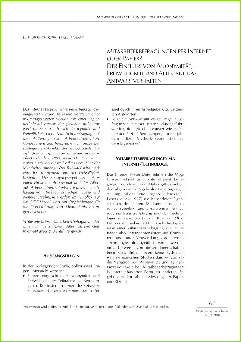 """PDF RANDBEDINGUNGEN FüR ERGEBNISSE VON MITARBEITERBEFRAGUNGEN ANONYMIT""""T ANONYMISIERUNGSGRAD DES BEFRAGUNGSMEDIUMS FREIWILLIGKEIT ALTER"""