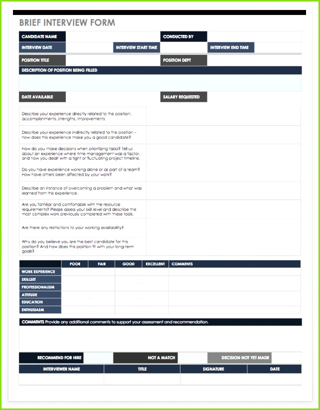 Brief Interview Form Template