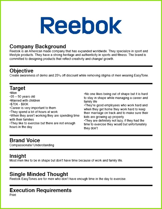 Reebok Marketing Brief Example
