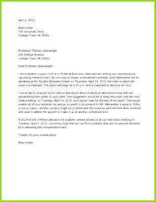 Sample Persuasive Letter to Professor