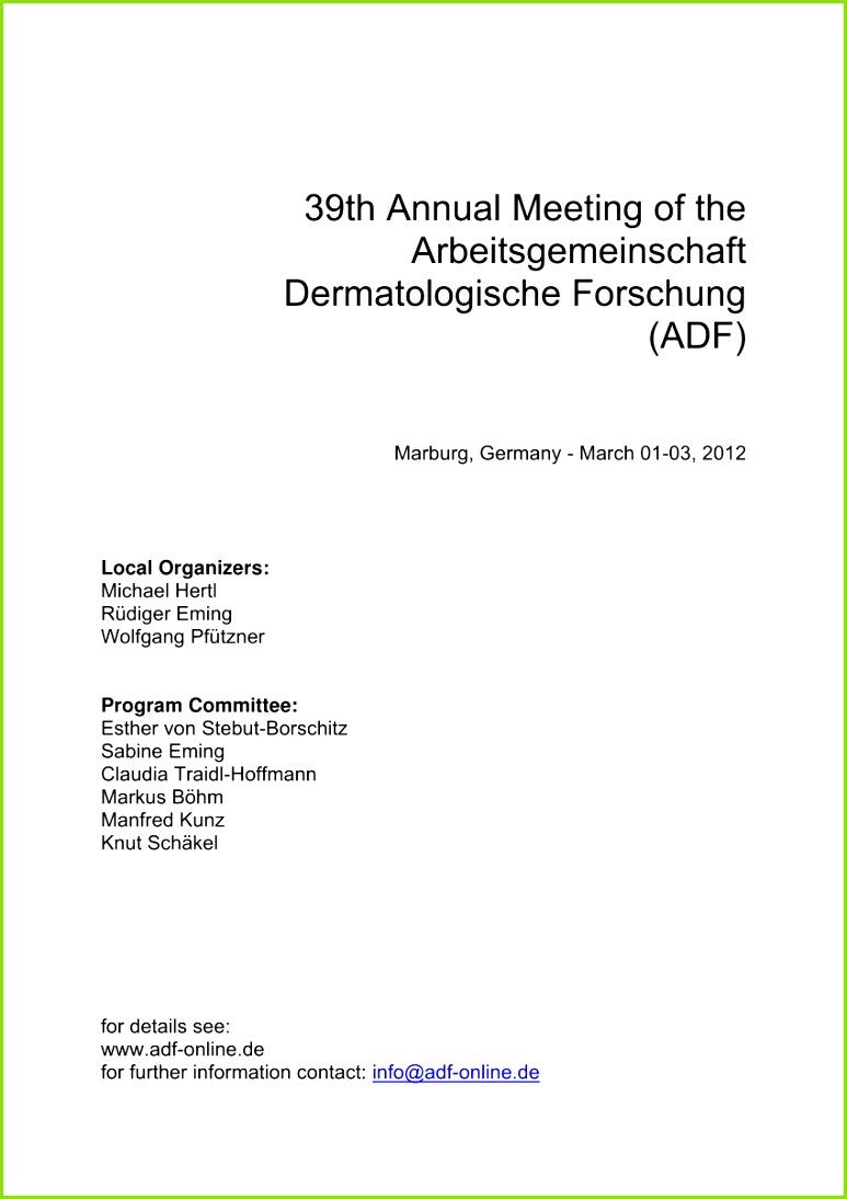 PDF 39th Annual Meeting of the Arbeitsgemeinschaft Dermatologische Forschung ADF