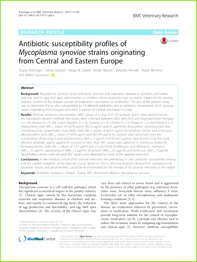 PDF The activity and patibility of the antibiotic tiamulin with other s in poultry medicine A review
