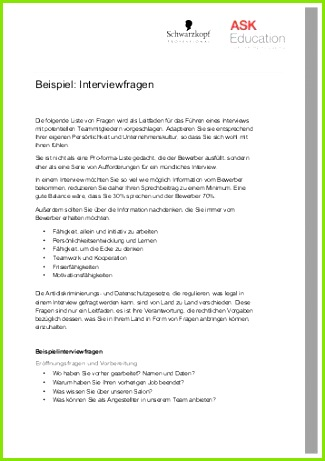 Beispiel Interviewfragen