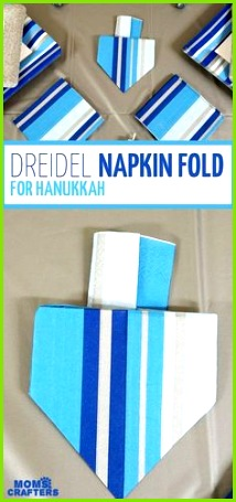 I love this dreidel napkin fold tutorial what a great idea for a Hanukkah tablescape