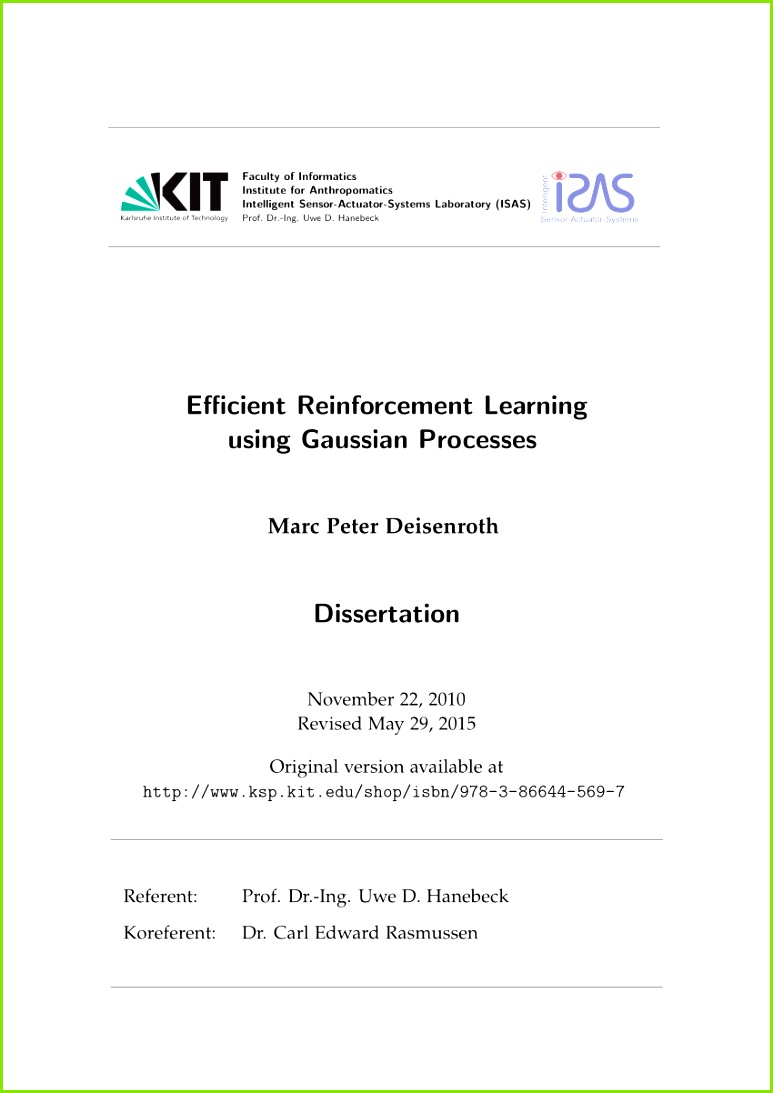 PDF Efficient Reinforcement Learning using Gaussian Processes