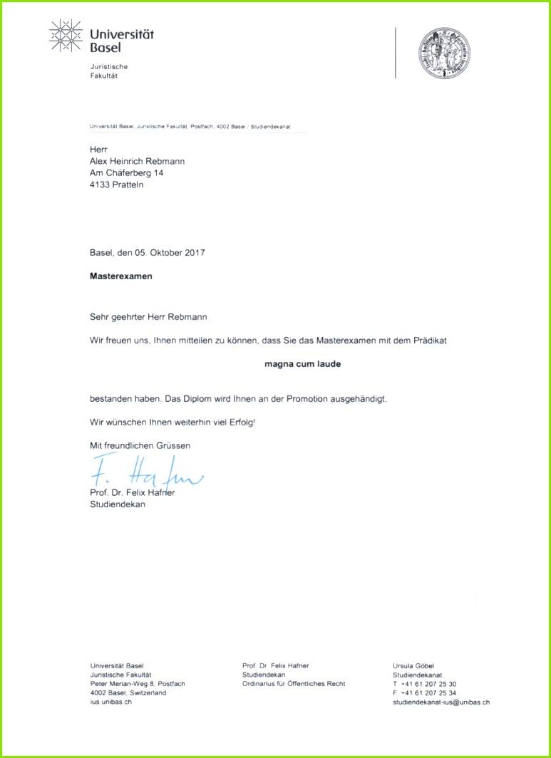 Bestätigungsschreiben Masterdiplom