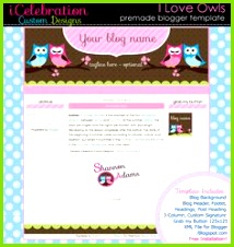 Pre Made Blogger Template I Love Owls