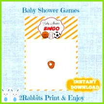 Sports Baby Shower Bingo Blank Cards Soccer Basketball Baseball Bingo Gift Baby Shower Orange Stripes Frame Instant Download