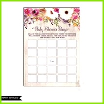 FLORAL Baby Shower BINGO Watercolor Flowers Baby Shower Game Rustic Baby Shower Printables Cottage Chic Garden Baby Shower Tea Party FLO2