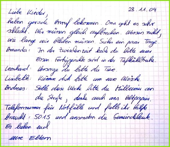 Brief der Eltern