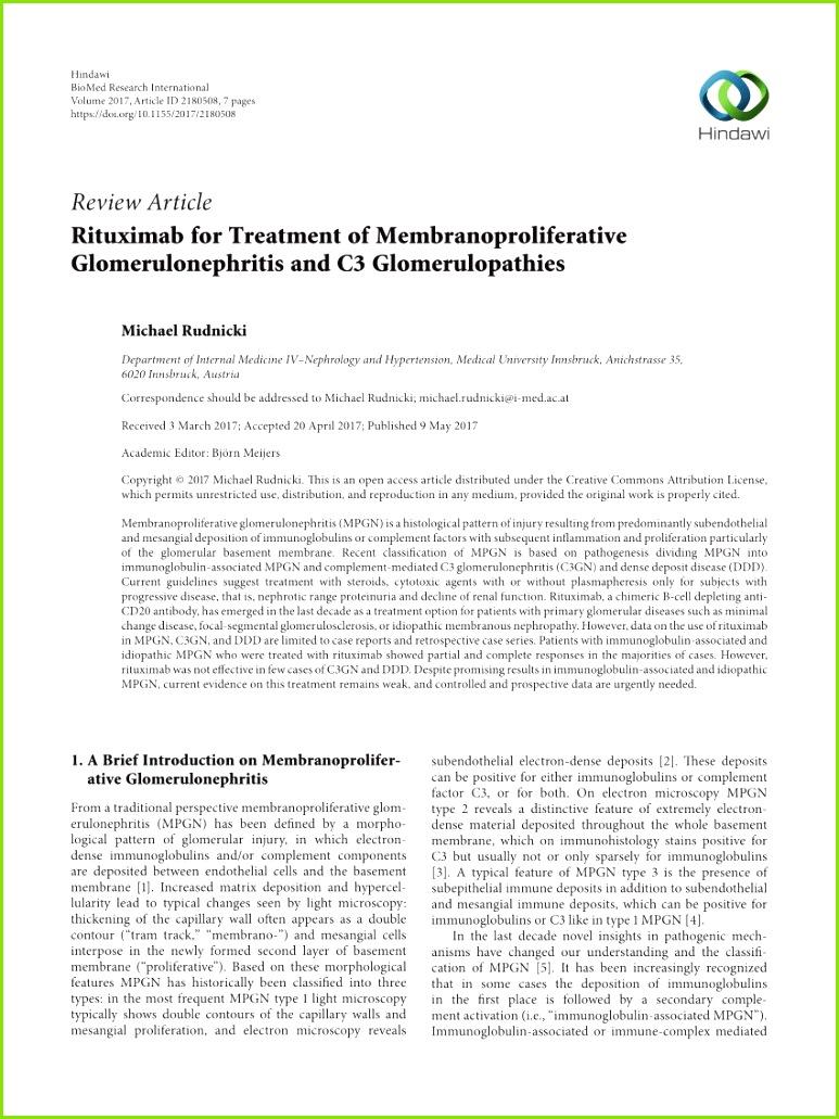 PDF Rituximab for Treatment of Membranoproliferative Glomerulonephritis and C3 Glomerulopathies