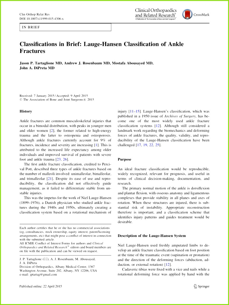 PDF Classifications in Brief Lauge Hansen Classification of Ankle Fractures