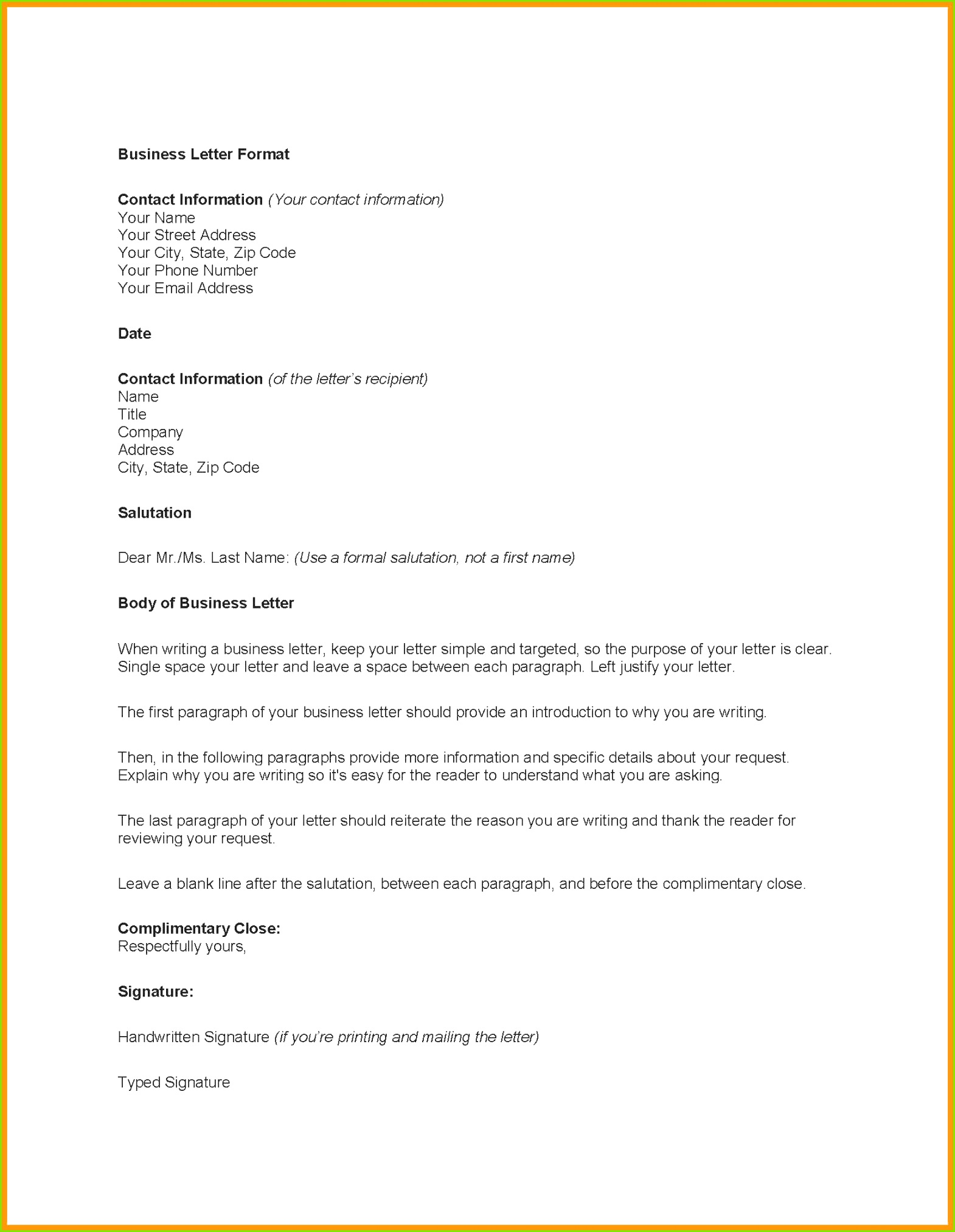 business brief schablone wort business letter format template