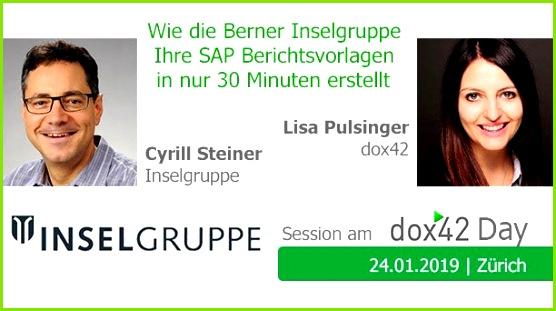 Berichtsvorlagen in nur 30 Minuten erstellt Cyrill Steiner inselgruppe und lisa pulsinger Session beim dox42 Day Zürich 24 Januar 2019