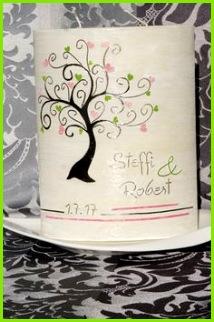 Hochzeitskerze Lebensbaum Hochzeit Kerze Herzen Liebe pink grün