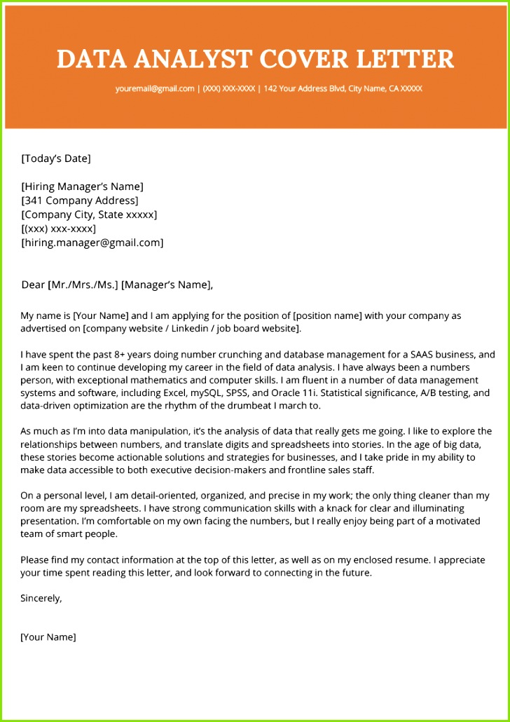 data analyst cover letter example template