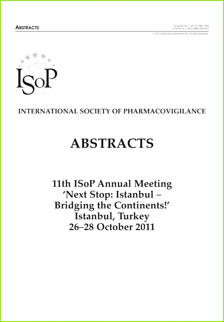 PDF abstracts 11th ISoP Annual Meeting Next Stop Istanbul – Bridging the Continents Istanbul Turkey 26–28 October 2011