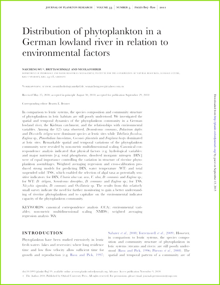 PDF Phytoplankton in Alte Donau Response to Trophic Change from Hypertrophic to Mesotrophic Over 22 Years doi 10 1007 978 3 319 5 9