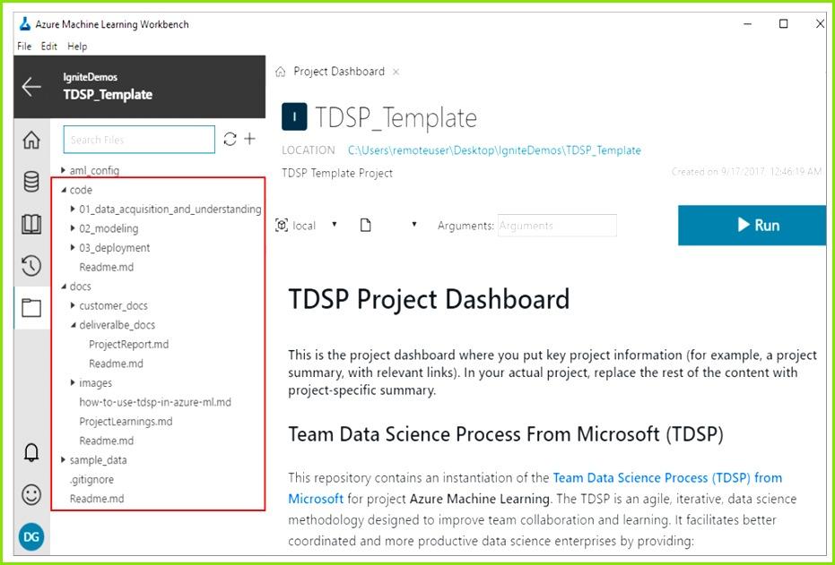 Create TDSP in Azure Machine Learning Workbench