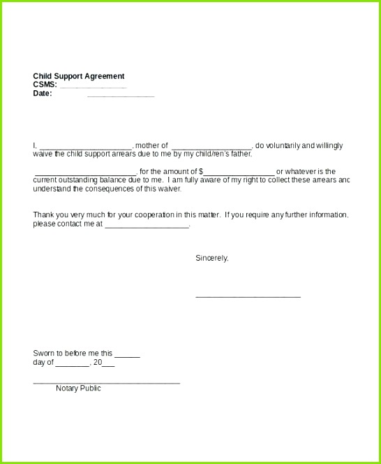 Sample Child Support Letter Template or Child Support Agreement Template Free Download Sample