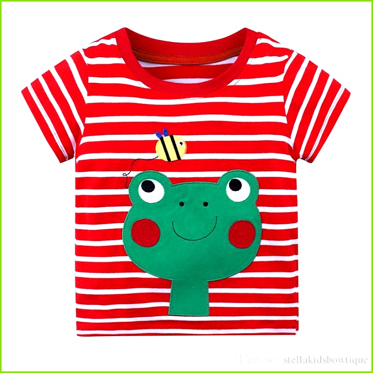 2019 Summer New Stripes T Shirt Cotton Shirt Children Boys And Girls Short Sleeved T Shirt Funny Animal T Shirt Cartoon Frog Pattern Tops From