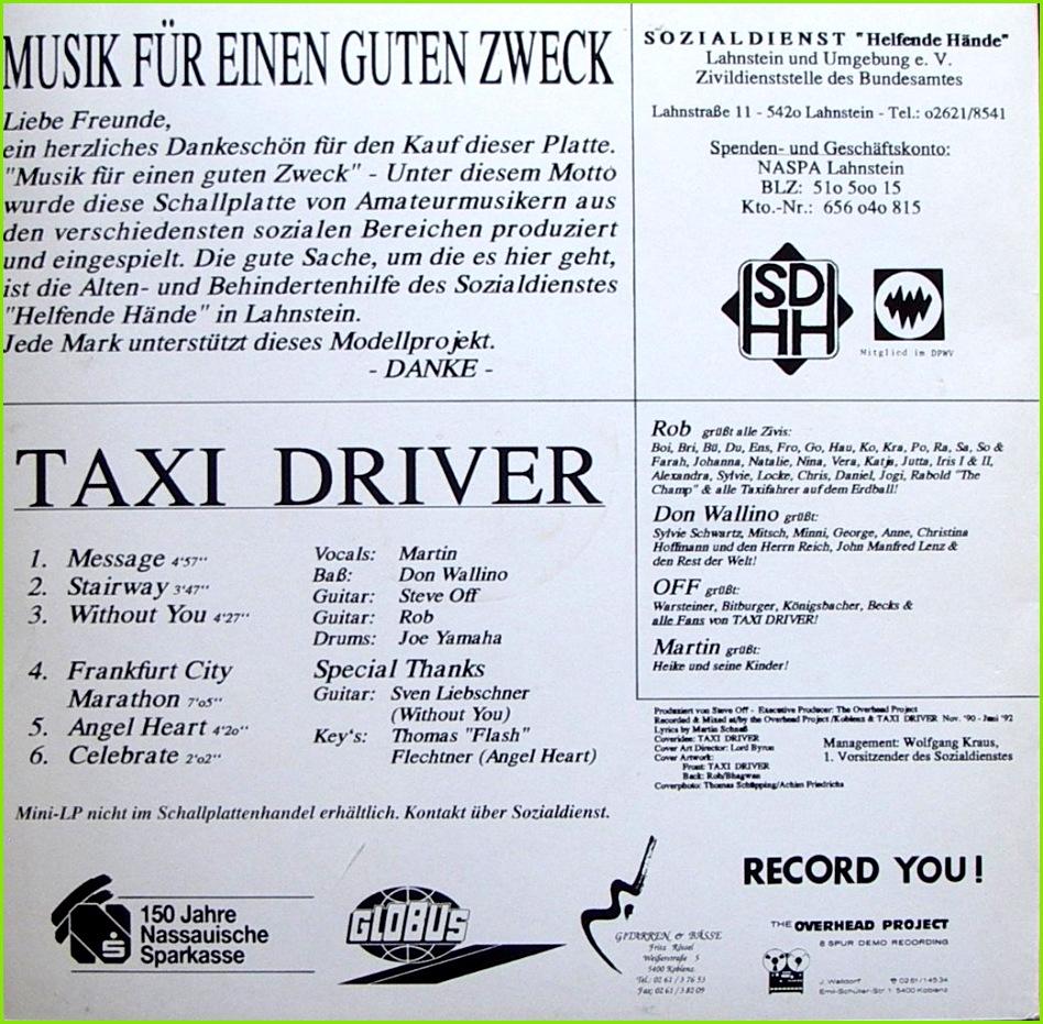 """TAXI DRIVER """" Musik für einen guten Zweck """" SOZIALDIENST """"Helfende Hände"""" Lahnstein und Umgebung e V 1992 Bildhülle OHP 0 01 Deutsche"""