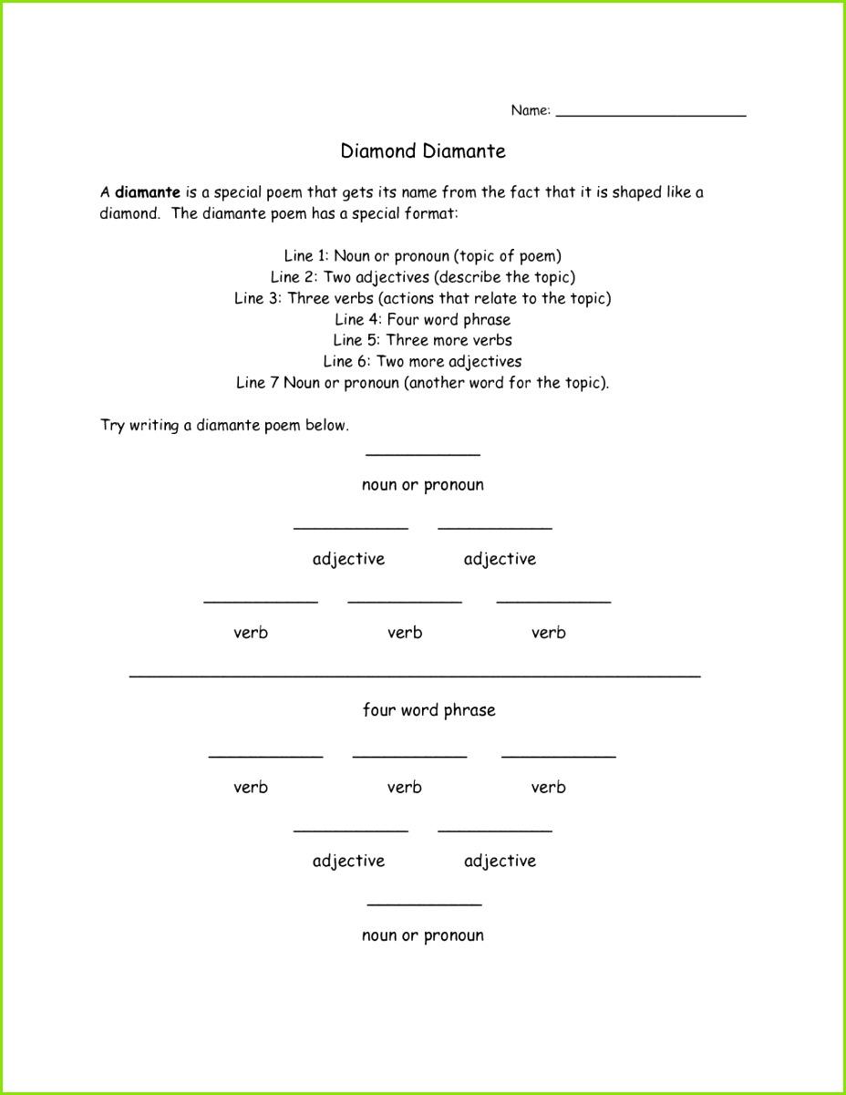 Beautiful Schön Cinquain Gedichtvorlage Galerie Entry Level Resume Vorlagen Diamante Poem Format dv1