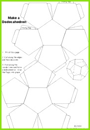 Template pattern for making a dodecahedron 12 pentagonal faces The pattern shown is also how two dodecahedrons share points edges and fac…
