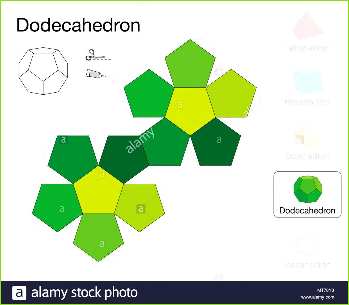 Dodekaeder platonischen solide Vorlage Papier Modell eines Dodekaeder einem der fünf Platonischen Körper ein dreidimensionales handwerkliche Arbeit zu