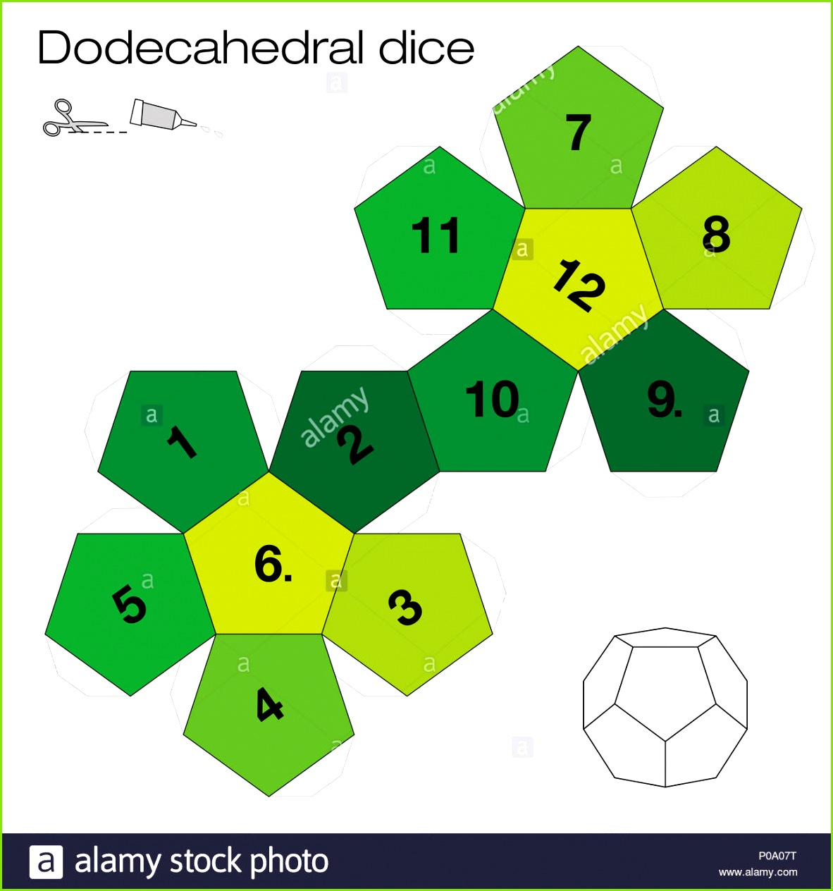Dodecahedron template dodecahedral dice one of the five platonic solids make a 3d