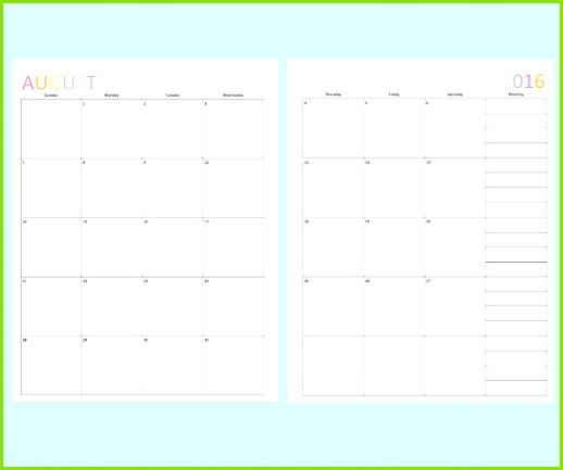 Der druckbare Kalender 2016 hat jeden Monat zwei Seiten Bleiben Sie für das Jahr organisiert