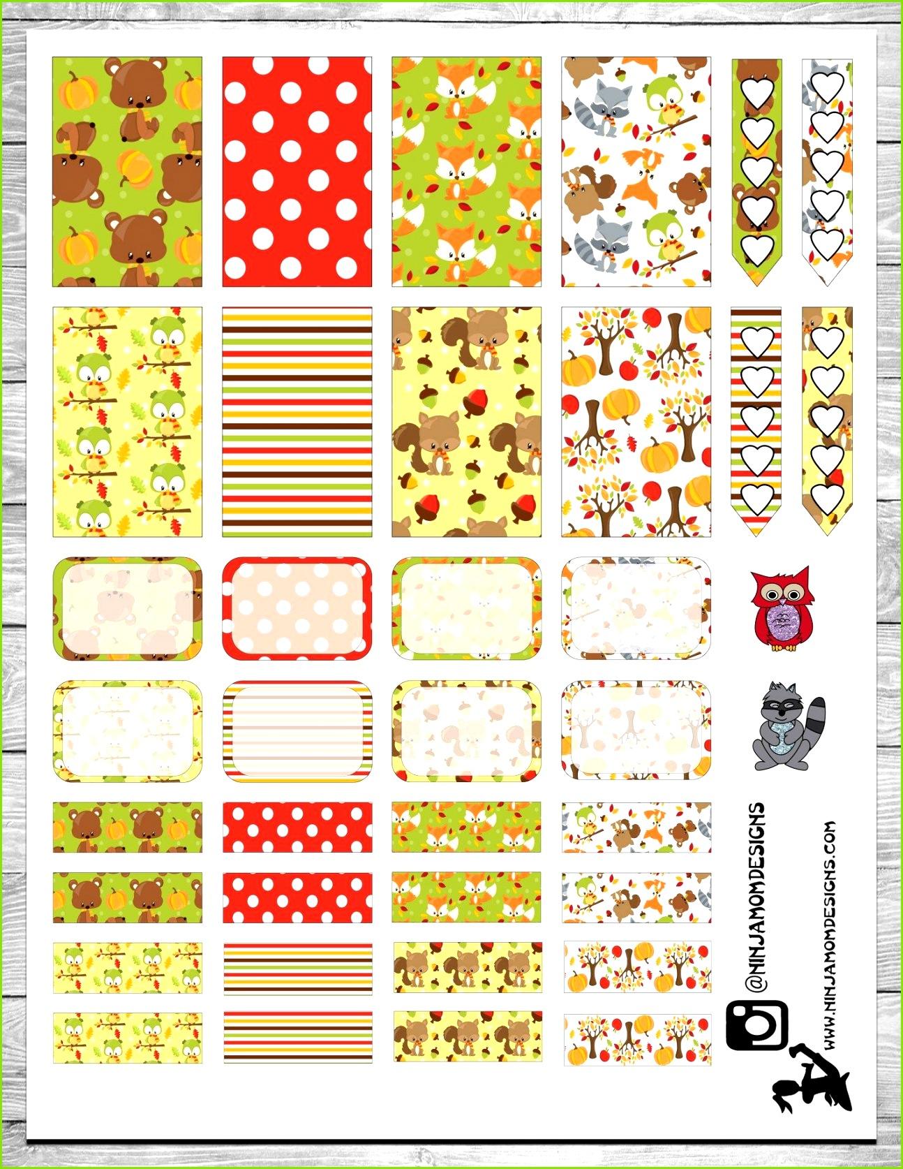 Free Printable Woodland Creatures Planner Stickers at ninjamomdesigns Kostenlos Planer Glückskalender Druckbare