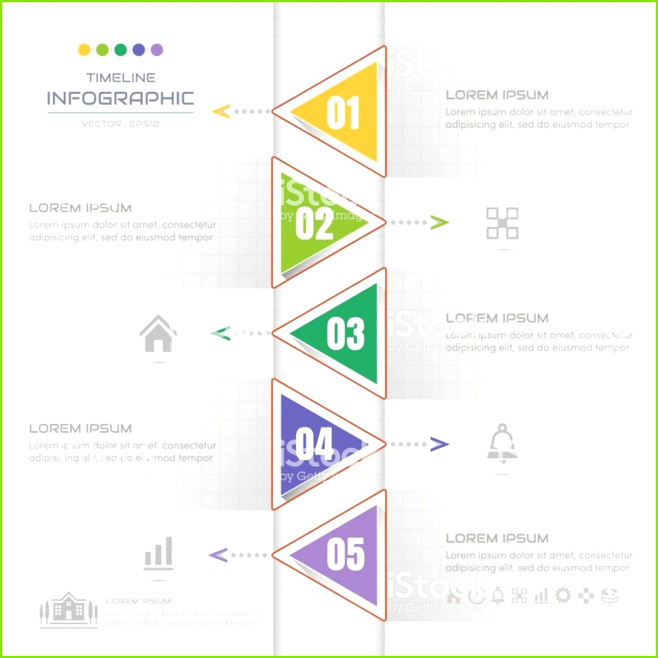 Zeitachse Infografiken Dreieck Entwurfsvorlage mit Symbolen Prozess Diagramm Vektor Illustration eps10 Lizenzfreies zeitachse