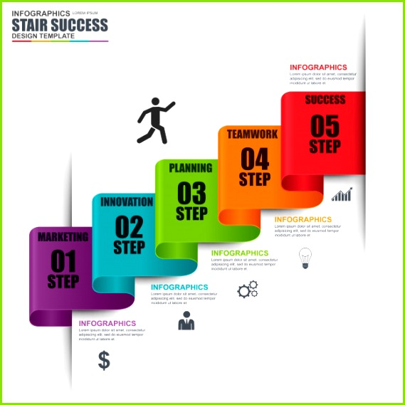 Infographik Treppe Schritt Vektor Entwurfsvorlage Kann für Workflow Treppen Erfolg verwendet werden Premium Vektoren