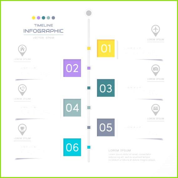 Zeitachse Infographics Entwurfsvorlage mit Symbolen Premium Vektoren