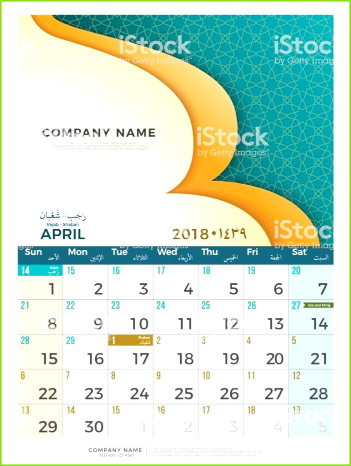 04 April Hijri 1439 1440 islamischen Kalender 2018 Entwurfsvorlage Einfache minimal eleganter Schreibtisch Kalender