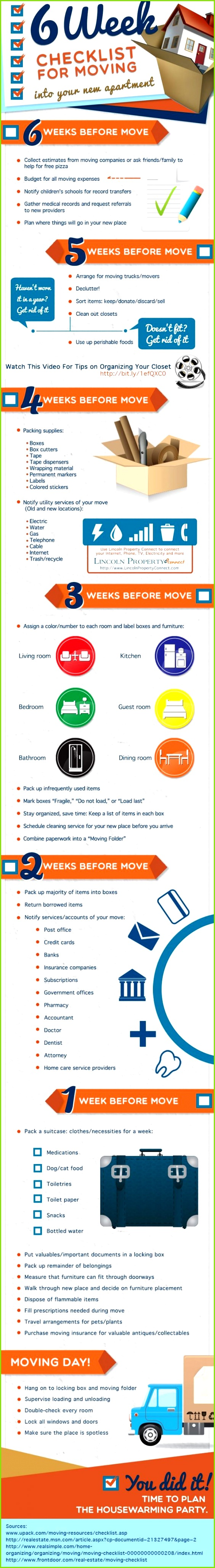 6 Week Checklist For Moving Into Your New Apartment infographic