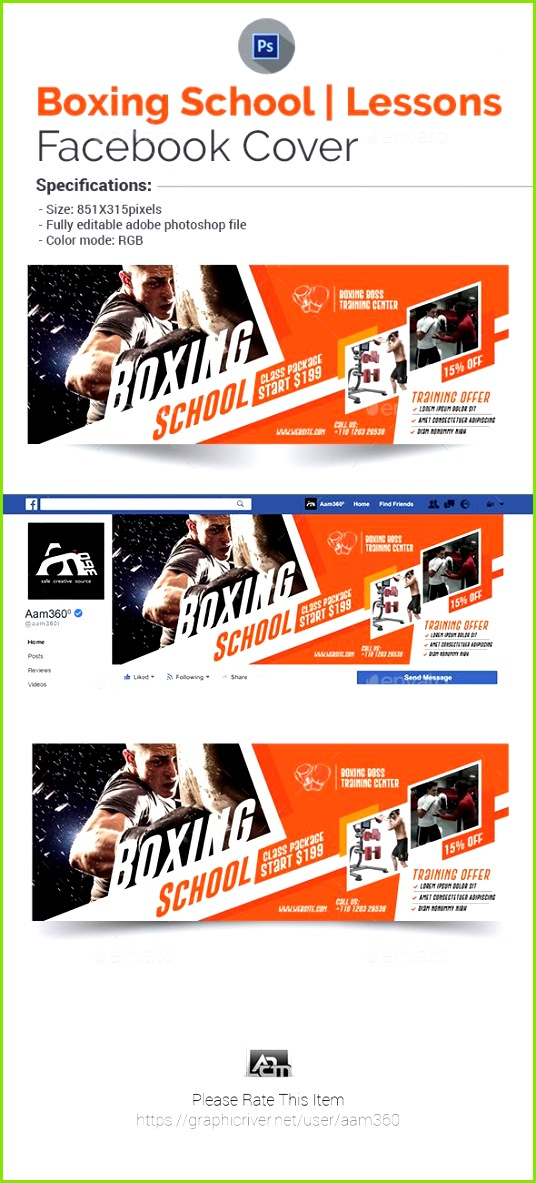 Boxing School Cover Template Timeline Covers Social Media
