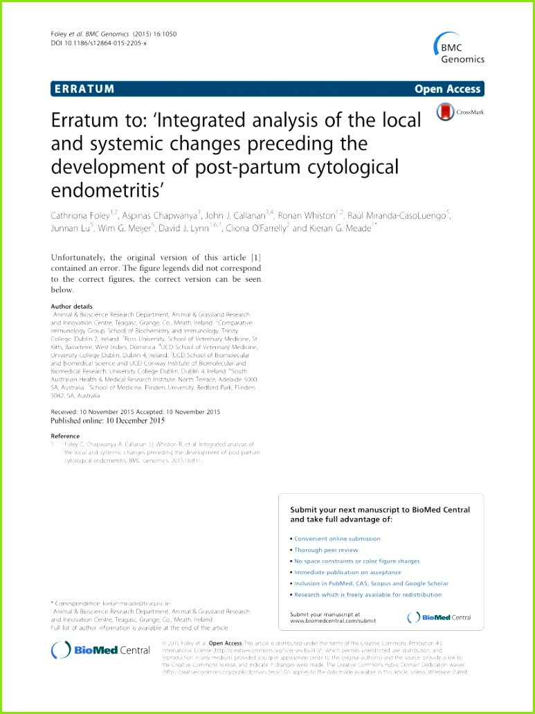 PDF Integrated analysis of the local and systemic changes preceding the development of post partum cytological endometritis