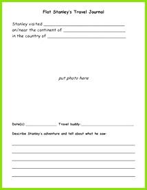 Flat Stanley s Travel Journal Teachers Corner First Grade Writing Teacher Forms Student Teacher