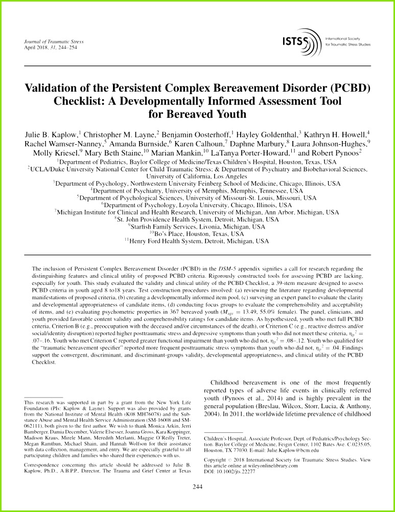 PDF DSM V Diagnostic Criteria for Bereavement Related Disorders in Children and Adolescents Developmental Considerations