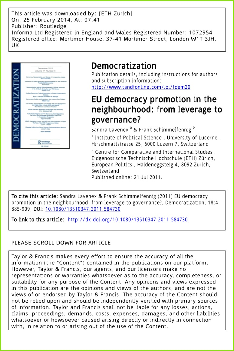 PDF EU Democracy Promotion in the Neighbourhood From Leverage to Governance