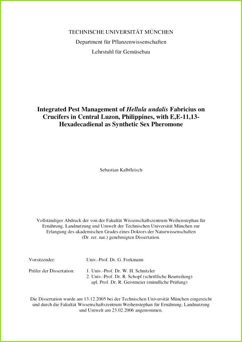 PDF Integrated pest management of Hellula undalis Fabricius on Crucifers applying the synthetic pheromone E E 11 13 Hexadeca nal in Central Luzon