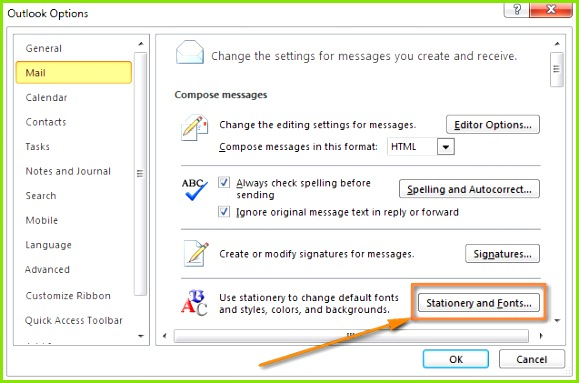 the Stationery and Fonts button to set the newly created template as your default Outlook